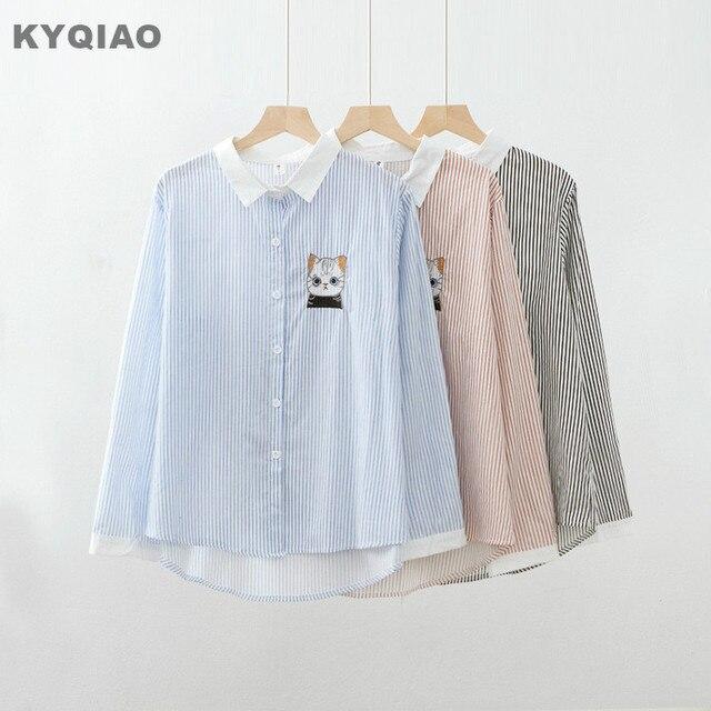 116674aa0 KYQIAO blusas de mujer de moda 2019 mori niñas otoño primavera Japón estilo  kawaii rosa azul