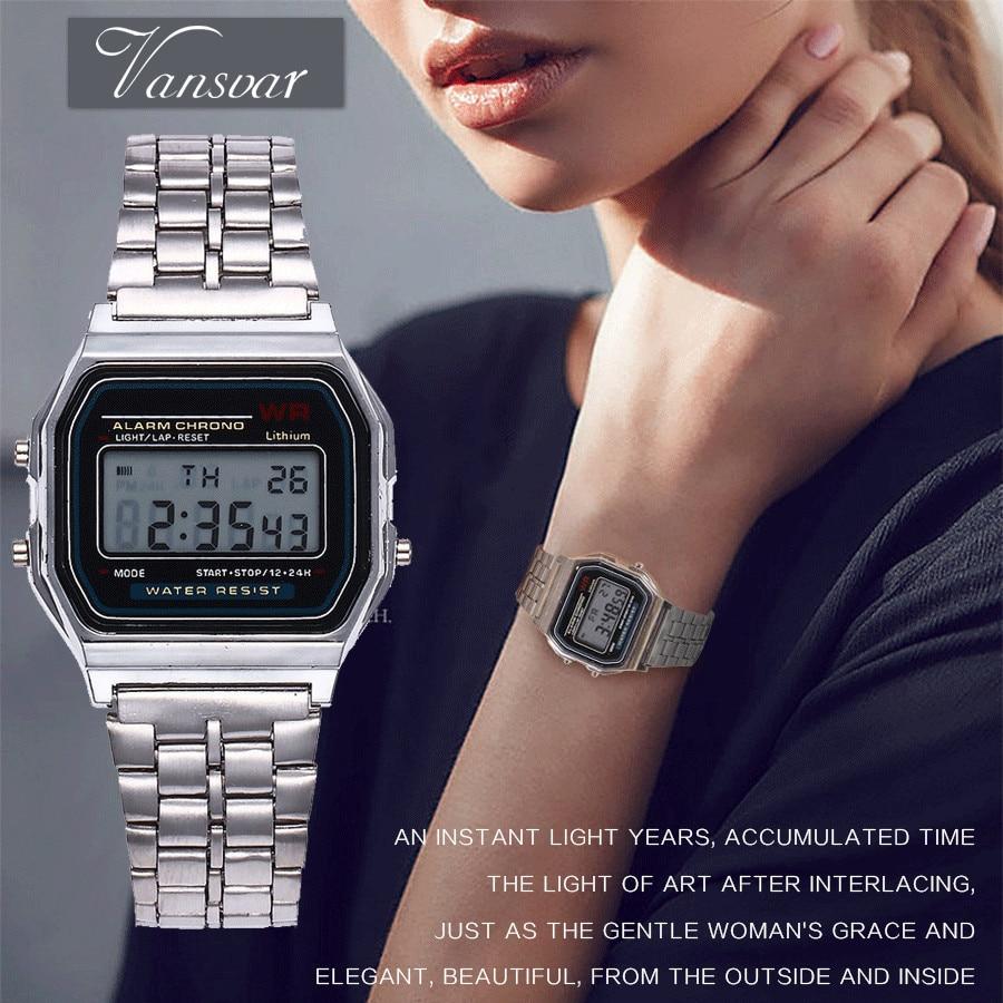 цена 2017 Multifunctional Digital Wristwatches Men Women Led Watch Vintage Stainless Steel LED Sports Watches Alarm Clock Luminous