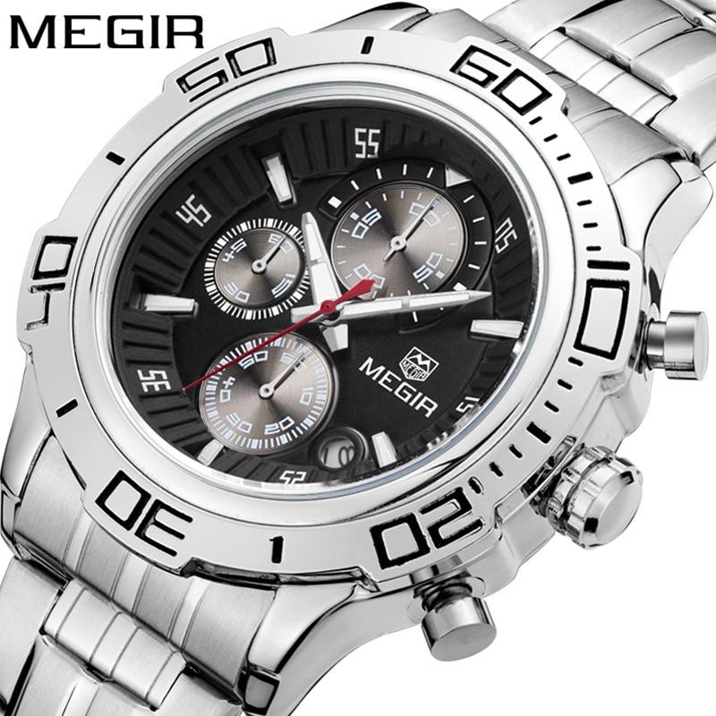 MEGIR Top Luxury Brand Mens Watch Chronograph Date Clocks Military Army Sport Clock Steel Band Quartz Men Male Watches Gift 2019