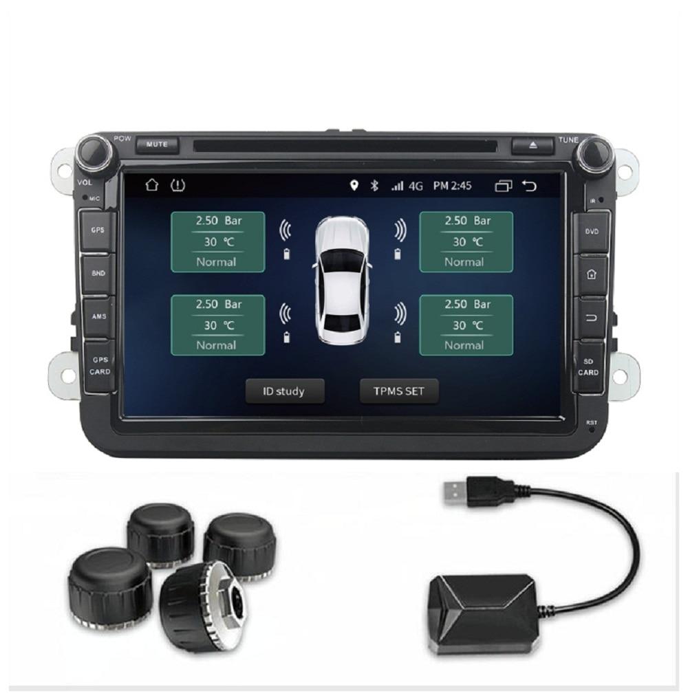 Voiture TPMS USB système de surveillance de la pression des pneus capteurs externes pour Android voiture multimédia Radio lecteur DVD température des pneus