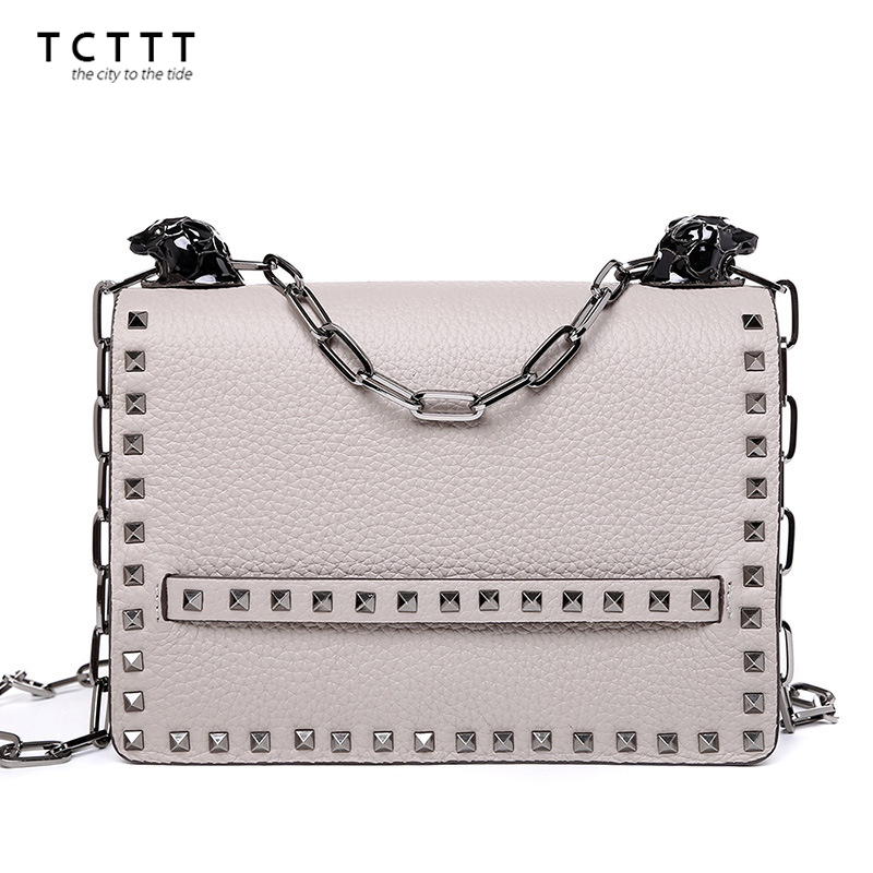High Quality genuine leather women's shoulder bags luxury designer Rivet crossbody Handbags Fashion Female chain Messenger bag