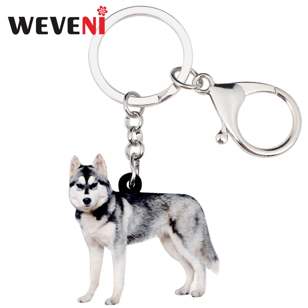 WEVENI Acrylic Siberian Husky Dog Key Chains Keychain Rings Novelty Gift For Women Girl Ladies Handbag Car Charms Animal Jewelry