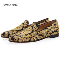 Gold Embroidered Luxury Loafers Shoes Men Round Toe Sewing Dress Wedding Shoes Male Slip On Rihanna Creepers Casual Shoes Flats