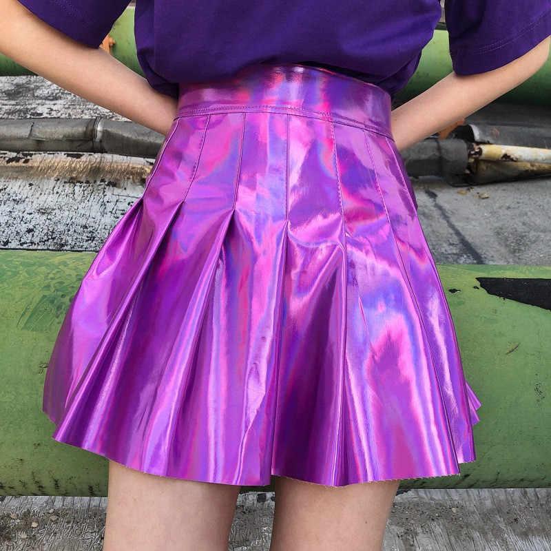 Japanischen Harajuku Stil Laser Rock Holographische Cheerleader Hohe Taille Gefaltete Rock Süße Club Short Mini Röcke Swing Rock