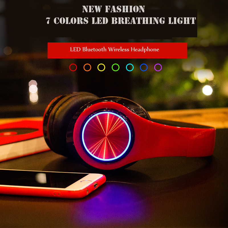 sago Bluetooth 4.2 Headphone With MIC HIFI Stereo Wireless Headset Support TF Card 3.5mm Wired With LED Light For Phone Android rock y10 stereo headphone earphone microphone stereo bass wired headset for music computer game with mic