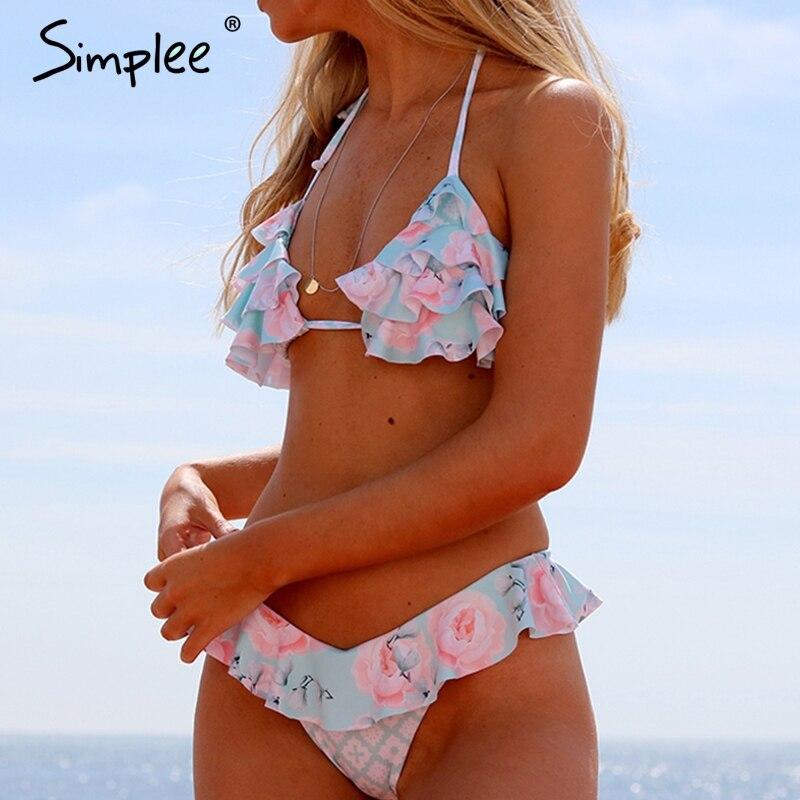Simplee Ruffled floral print elegant woman swimsuit Bondage push up two-piece   bra     sets   Summer halter beach female bathing suits