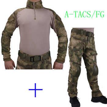 Camouflage de chasse BDU AT-FG uniforme de Combat chemise met Broek en coude et genouillères militaire cosplay uniforme ghilliekostuum jacht