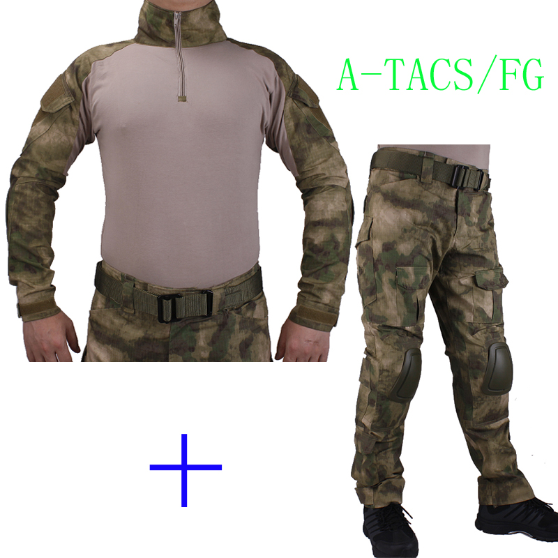 Hunting Camouflage BDU AT-FG Combat uniform shirt met Broek en Elbow & KneePads militaire cosplay uniform ghilliekostuum jachtHunting Camouflage BDU AT-FG Combat uniform shirt met Broek en Elbow & KneePads militaire cosplay uniform ghilliekostuum jacht