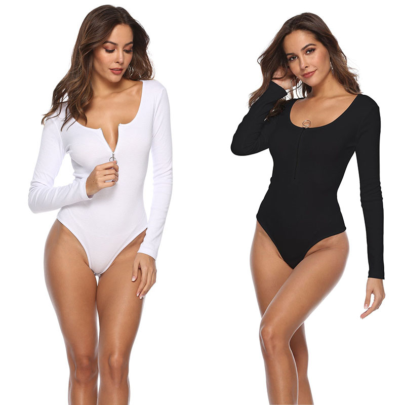 White Black Spherical Neck Ruched Element Ribbed Zipper Skinny Plain Lengthy Sleeve Girls Sizzling Attractive BodySuits Spring Informal Clothes Bodysuits, Low cost Bodysuits, White Black Spherical Neck Ruched Element...