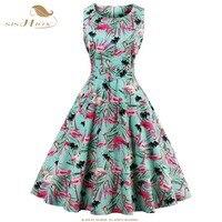 SISHION Elegant Summer Dress 2017 Sleeveless Fruit Flower Bird Floral Print 50s 60s Party Vintage Dress