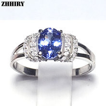 Real 925 Sterling Silver Natural Blue Tanzanite Ring Women Gem Stone Rings Engagement Fine Jewelry