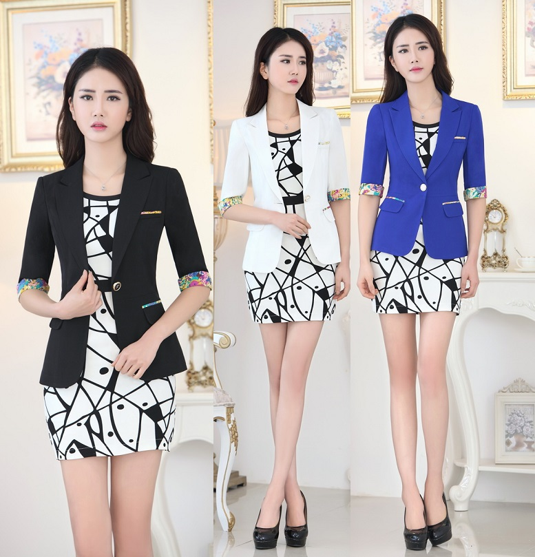 Plus Size 2015 Spring Autumn Formal Uniform Design Female Blazers Office Ladies Work Wear Suits Jackets And Dress Outfits Sets