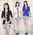 Plus Size 2015 primavera outono uniforme oficial Design Blazers feminino escritório Ladies trabalho desgaste ternos casacos e vestido Outfits define