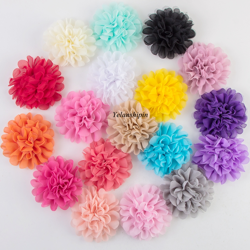 10pcs/lot 12CM 18colors Hair Fluffy Chiffon Mesh Lace Flowers Clip For Kids Hair Accessories Fabric Flowers For Headbands Supply