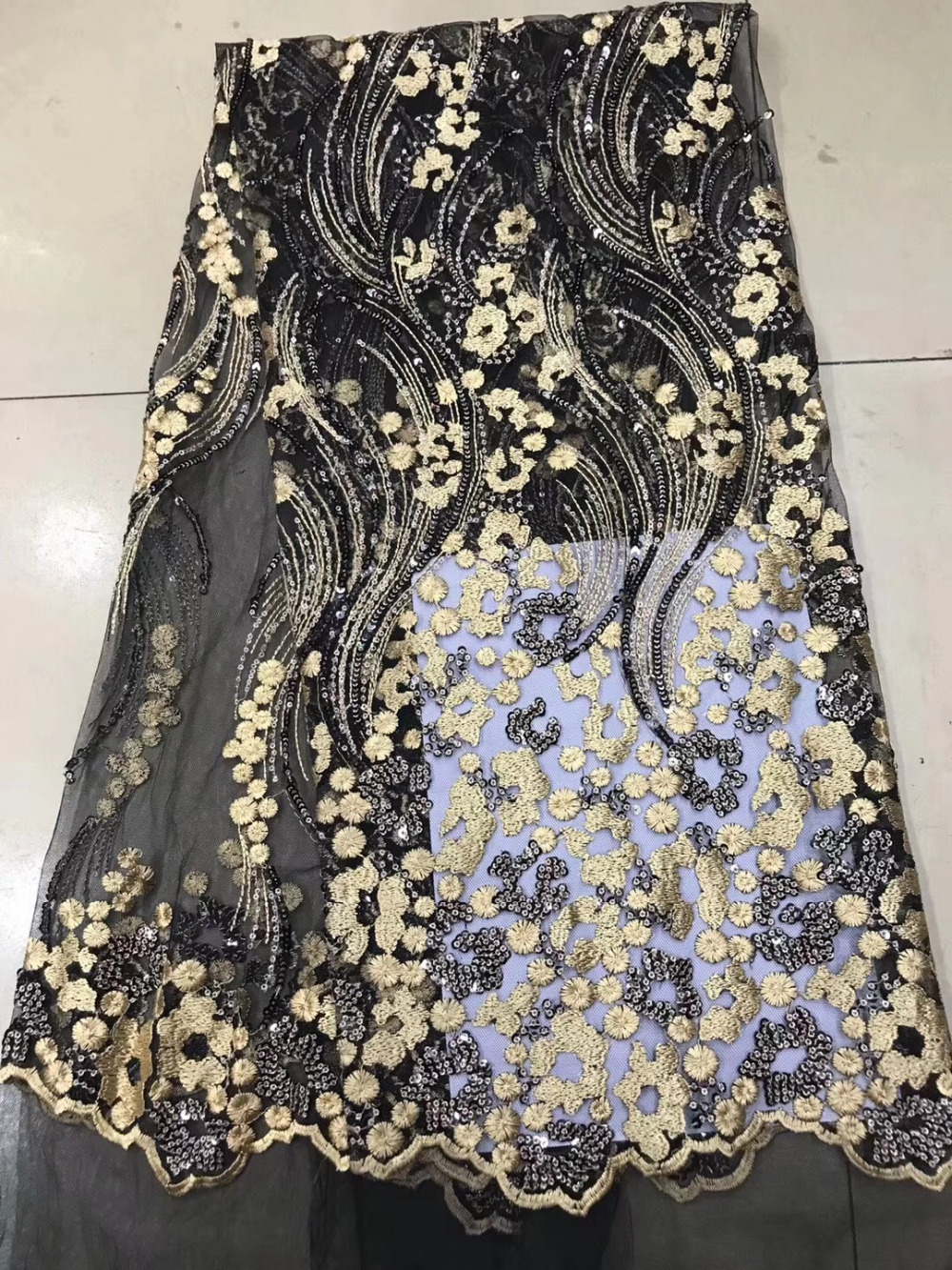 2018 Wedding Gold Sequence Nigerian Lace Fabric Bridal Fashion African French Lace Fabric 5Yards Tulle Mesh Net Lace Materials2018 Wedding Gold Sequence Nigerian Lace Fabric Bridal Fashion African French Lace Fabric 5Yards Tulle Mesh Net Lace Materials