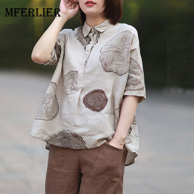 Mferlier Women Summer Big Floral Print Artsy Blouses Turn Down Collar Short Sleeve Casua ...