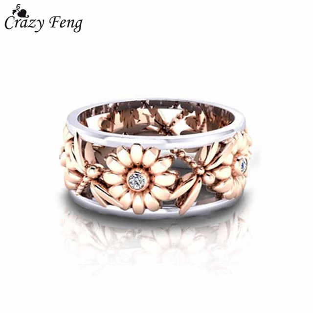 Crazy Feng Charms Rose Gold Color Sun Flower Rings For Women Stainless Steel Hol
