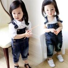 Джинсовые комбинезоны для мальчиков; коллекция года; Модный осенний детский однотонный комбинезон на лямках с рисунком; повседневная детская одежда для девочек; комбинезоны; штаны; Ov011