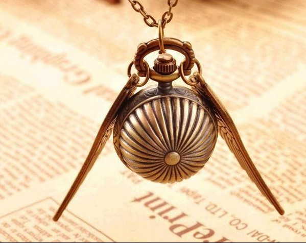 Freeshipp Mini Antique Vintage Brown Wing Little Pumpkin Ball Metal Steampunk Quartz Necklace Pendant Chain Small Pocket Watches