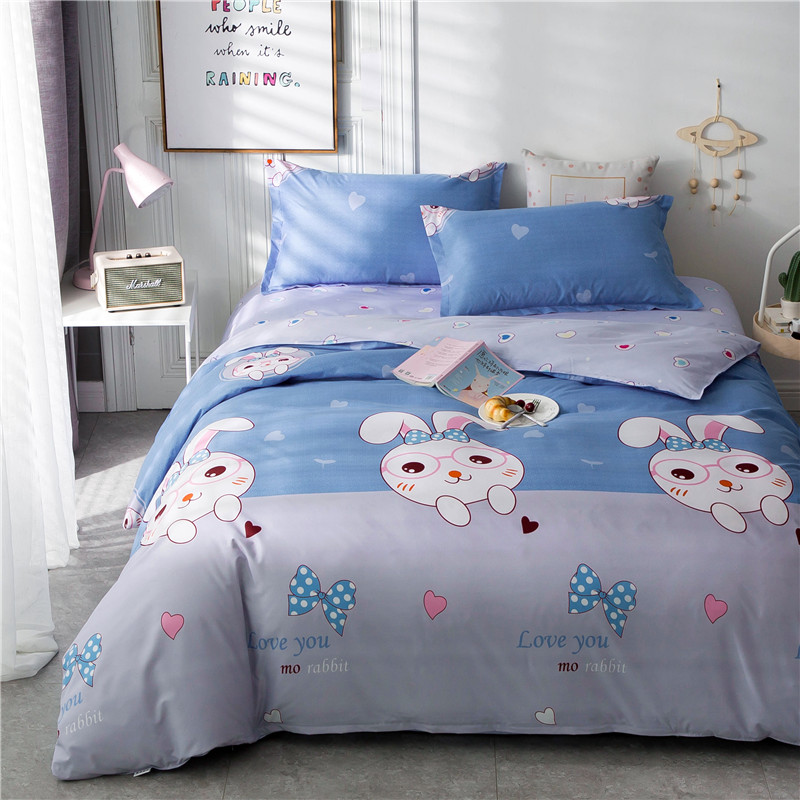 Image 4 - ParkShin Cartoon Bedding Set Rabbit Bedspread Blue Bed Flat Sheet Double Queen King Bedclothes Home Textiles Duvet Cover Set-in Bedding Sets from Home & Garden
