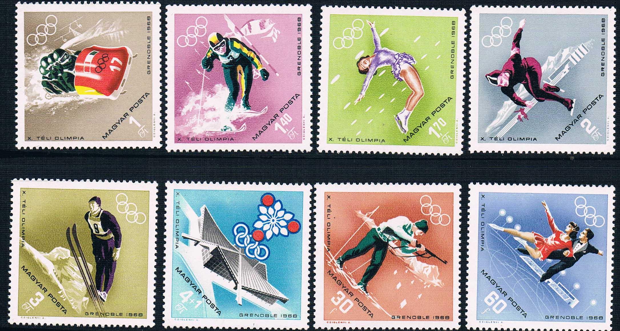 H0121 Hungary 1968 Winter Olympics 8 NEW hungary