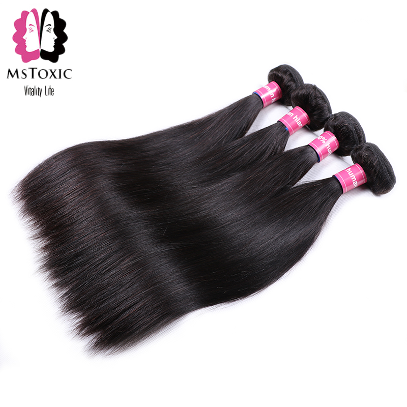 Mstoxic 3/4 Bundles Straight Hair Peruvian Human Hair Bundles Non Remy Hair Weave Extensions 8-28 inche Natural Color ...