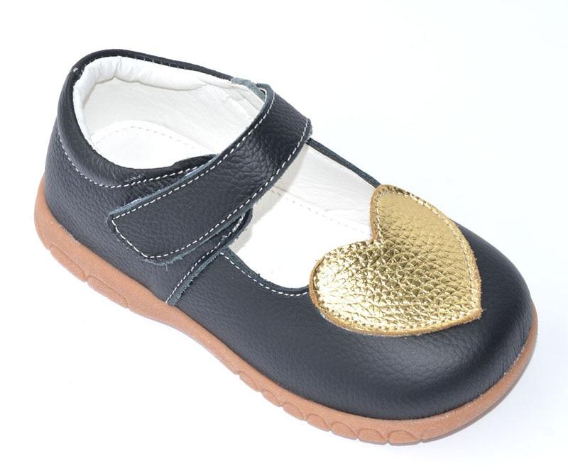 Sapatos meninas genuína sapatos de couro mary jane preto com coração de ouro crianças sapatos crianças pequenas casamento christenning zapatos sapato branco