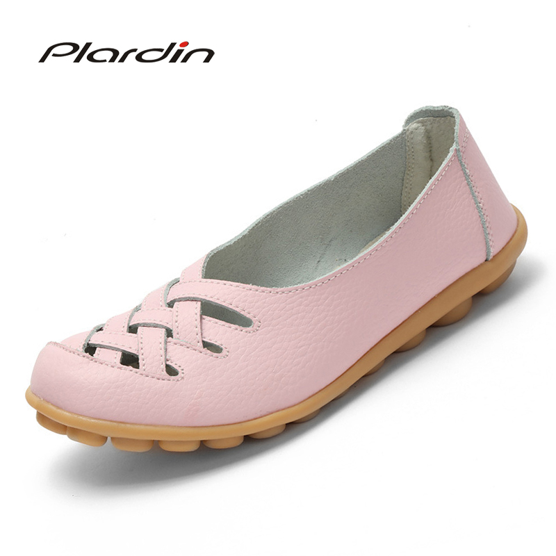 plardin 2018 Genuine Leather Bowtie Women Ballet Flats Summer Casual Women's Shoes Woman Loafers Leather Retro Nurse Mom Shoes plardin new summer plus size women cutouts genuine leather mom shoes comfortable sewing buckle flats nurse casual ballet flats