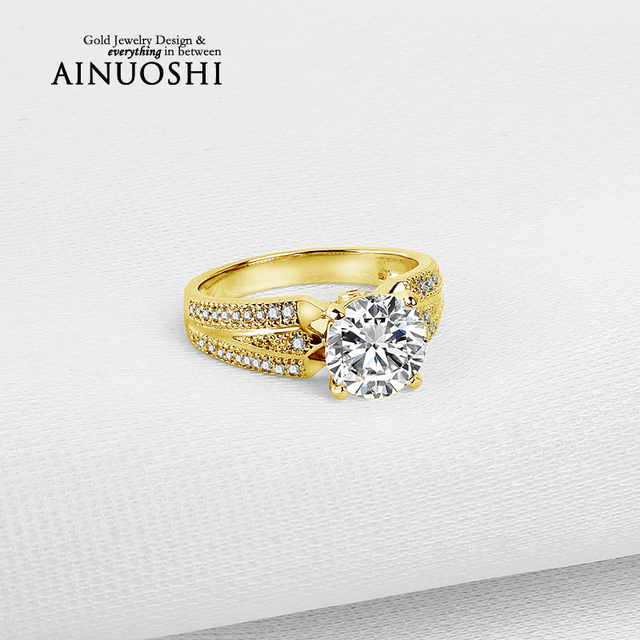 AINUOSHI 10K Yellow Gold TC Collection Wedding Rings 2 ct Simulated Diamond Engagement Jewelry 2 Rows Drill Women Wedding Ring