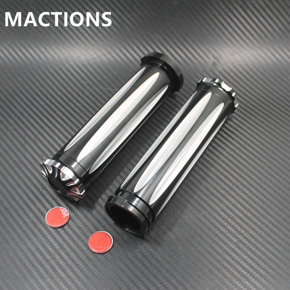 Motorcycle Grips For Harley Electronic Throttle Wire Touring Tri Glide 2008 2017 1 Aluminium CNC Handlebar