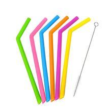 2 шт силиконовые многоразовые соломинки с чистящей щеткой бар аксессуары для вечерние кухонные смузи соломинки