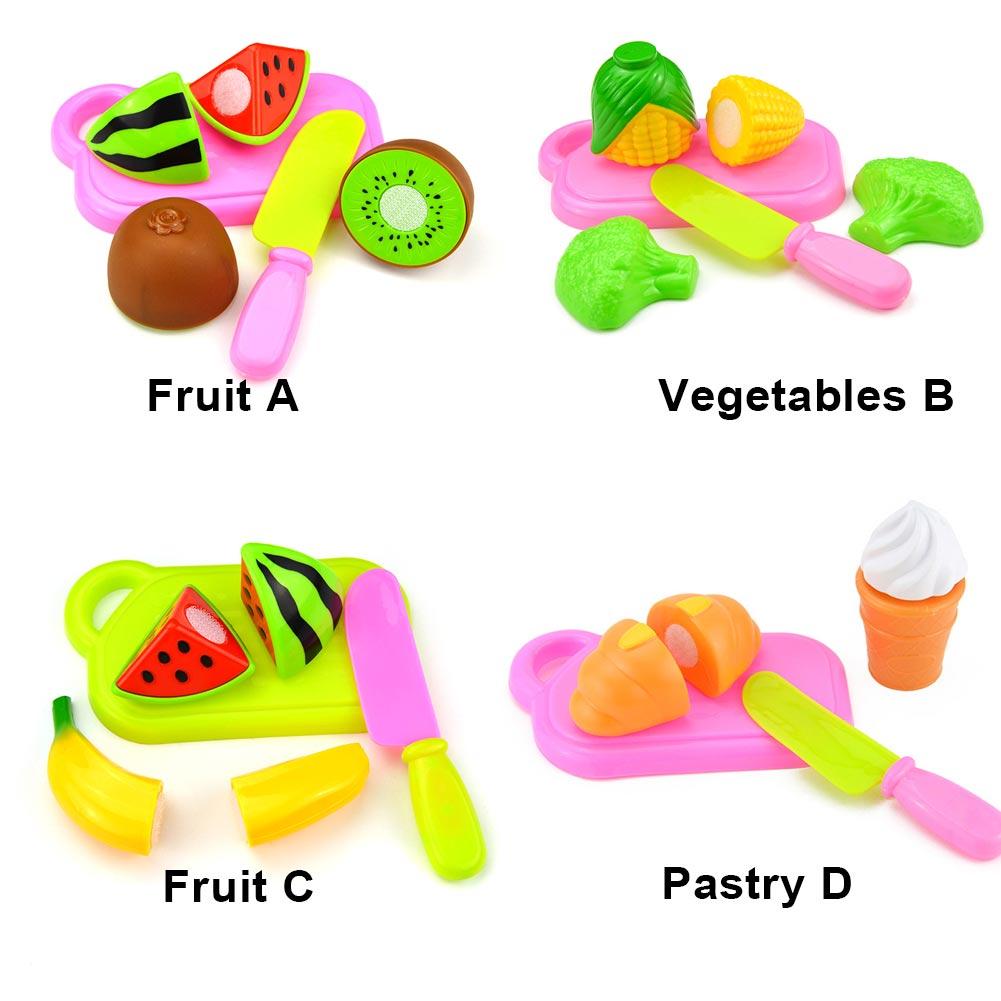 4Pcs Plastic Fruit Vegetables Cutting Toys Set Children Kids Early Development Educational Toy 88 S7JN