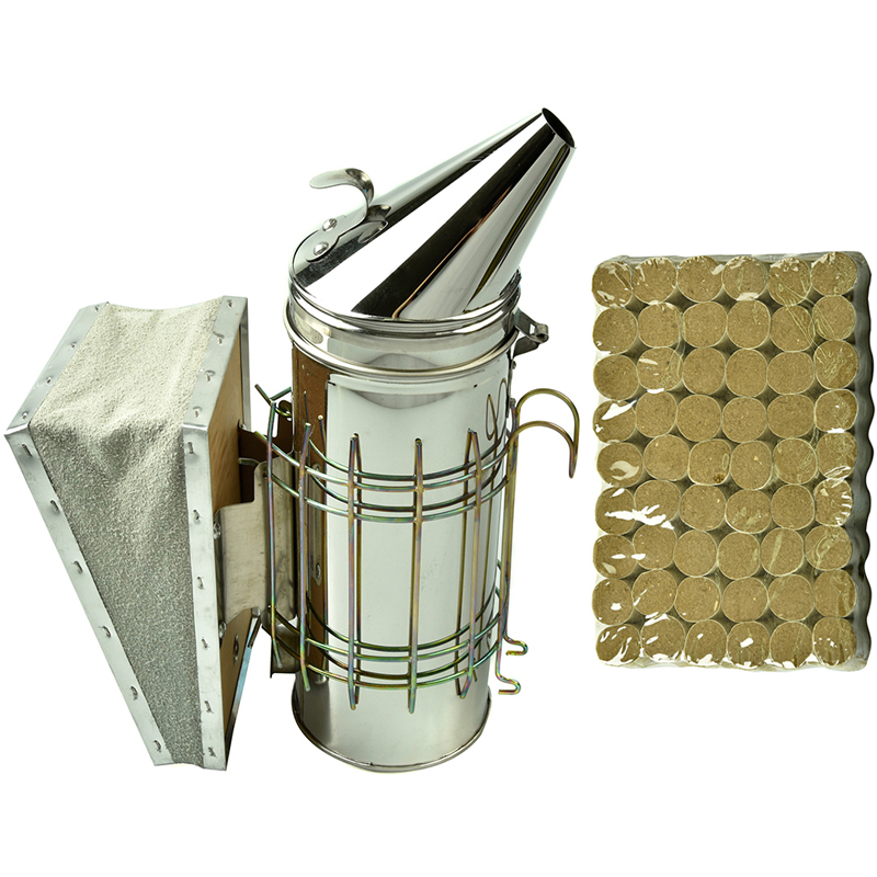 DLKKLB 1 Set Beekeeping Tool Stainless Steel Bee Hive Smoker Set Bee Smoker Bomb 54Pcs Apiculture Equipment