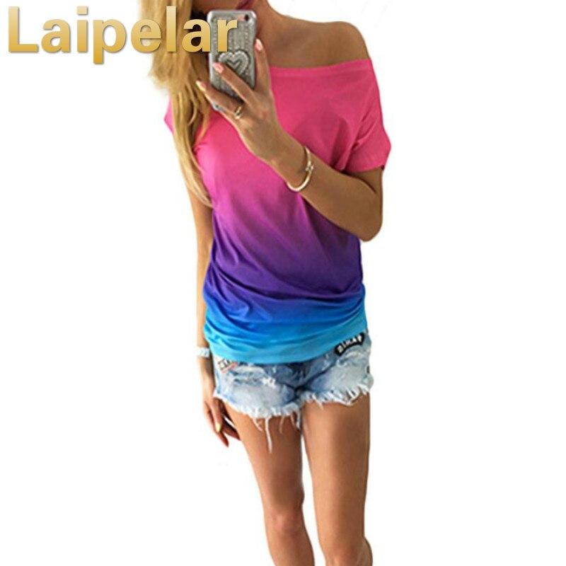 Laipelar 2018 New Arrivel Fashion Women Short Sleeve Blouse Female Batwing Print Loose Casual Tops