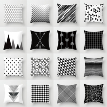Buy 5 Get 1 Free Black and White Geometric Abstract Decorative Pillowcases Polyester Throw Pillow Case Pillowcase