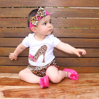 Baby Girl Kids Boutique Outfits Infant Cotton White Bodysuit Romper Leopard Bloomers Shorts Headband Newborn Girl