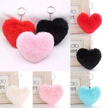 Porte-clés en forme de cœur en fausse fourrure de lapin, 1 pièce, pendentif, breloque, pompon, bijoux, accessoires de voiture