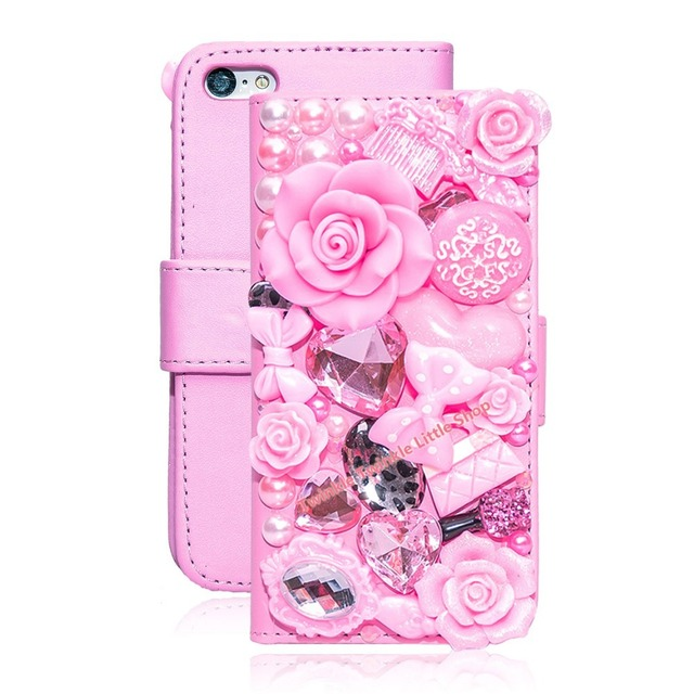 For Apple iPhone 5 5S 5C case Luxury Crystal 3D Leather Flip Phone Cases Cell Phone Protective Covers for iphone 5s case