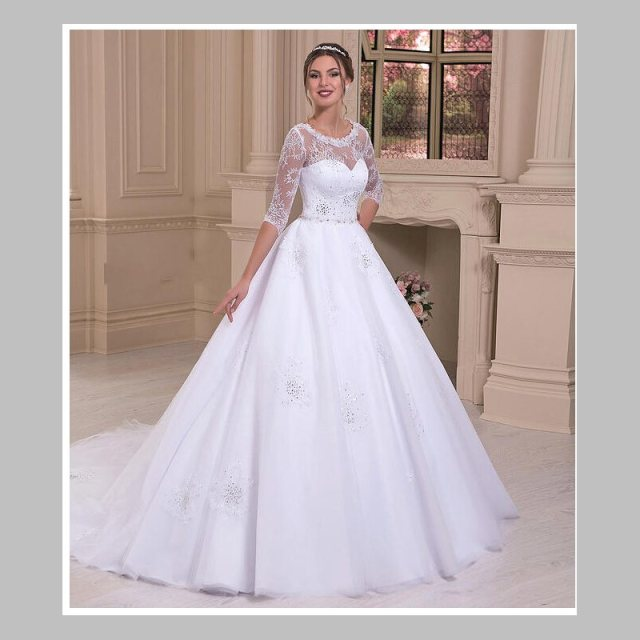 Bling Sparkle A Line O Neck Court Train White Organza Lace Wedding Dress 3 4 Sleeve