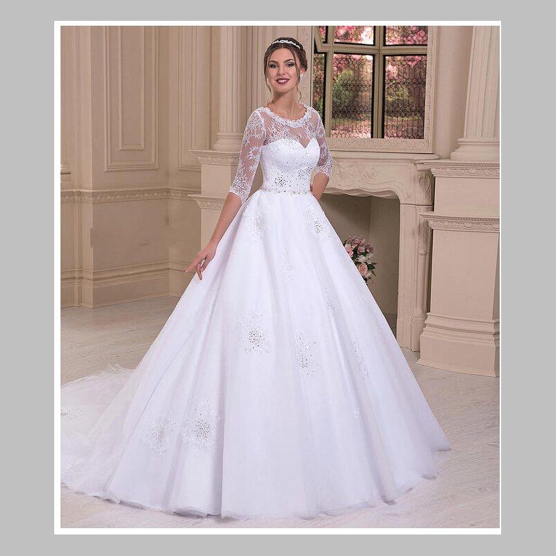 bling sparkle a line o neck court train white organza lace wedding dress 3 4 sleeve beads wedding dresses sheer neckline
