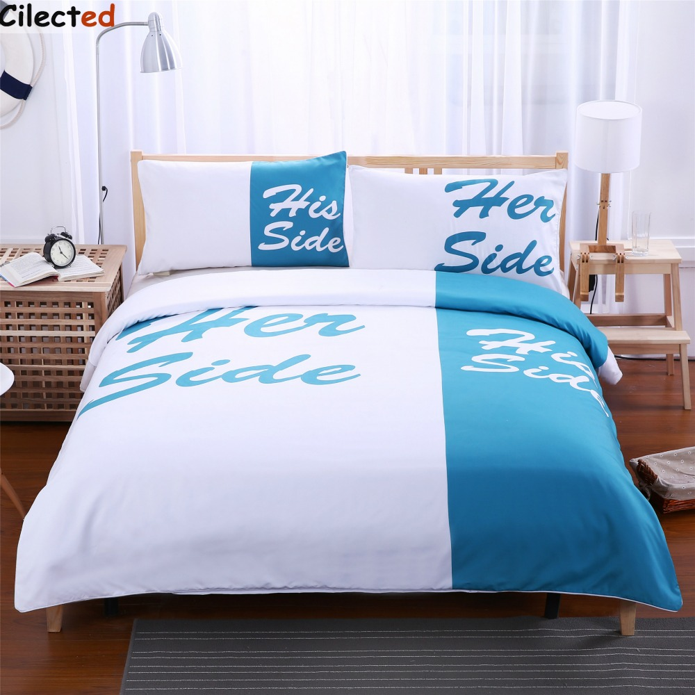 Blue and white bedding - Cilected Blue White Bedding Set His Side Her Side Home Textiles Soft Duvet Cover And