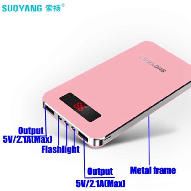 Suoyang banca di potere 20000 mah Powerbank 20000 mah Dual USB 2.1A per iPhone iPad Xiaomi Huawei Huawei Samsung Anker Altoparlante