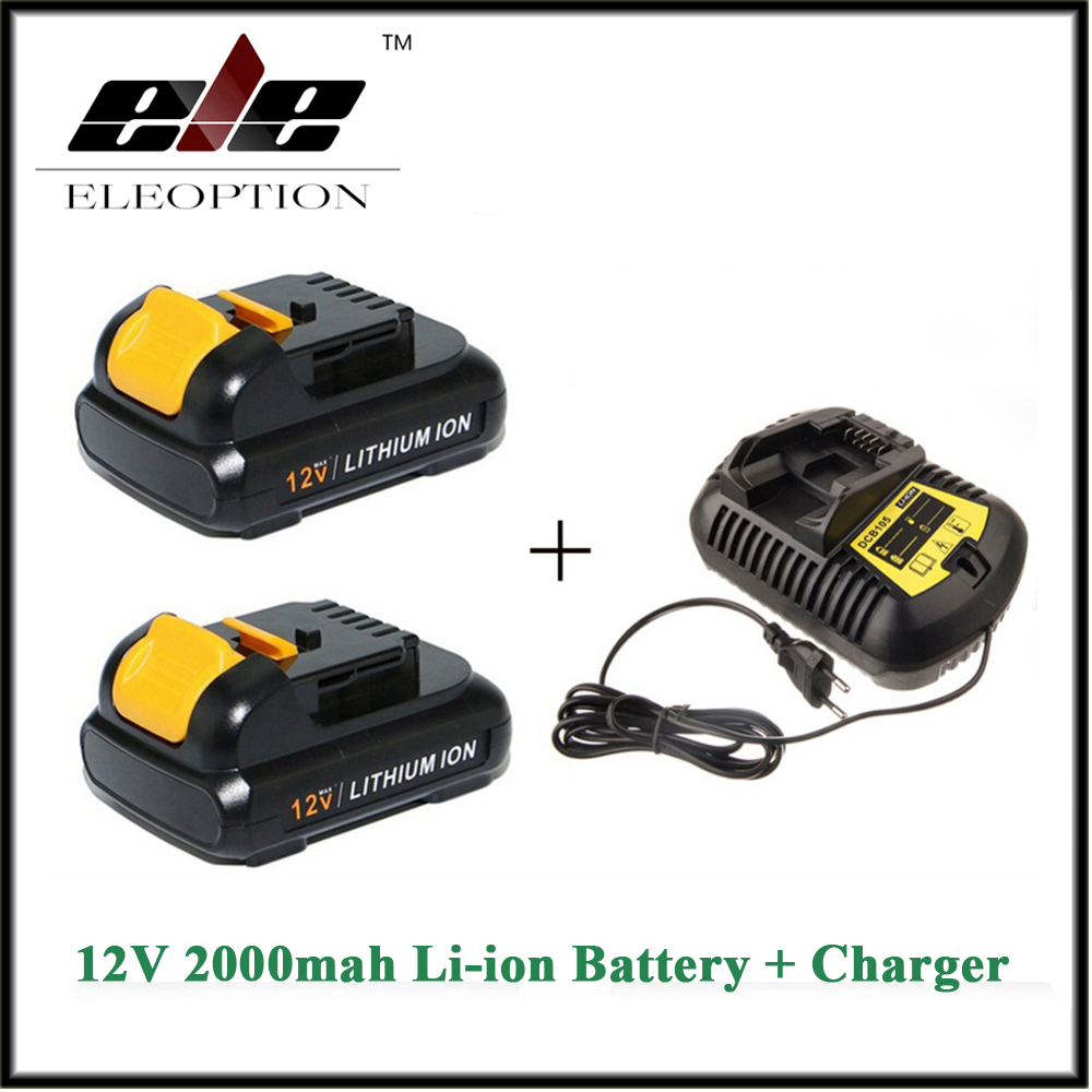 Eleoption 2PCS 12V 2.0Ah 2000mah MAX Li-ion power tool Battery For Dewalt DCB120 DCD710 DCF813 DCF815 DCF610 And charger eleoption 2pcs 18v 3000mah li ion power tools battery for hitachi drill bcl1815 bcl1830 ebm1830 327730