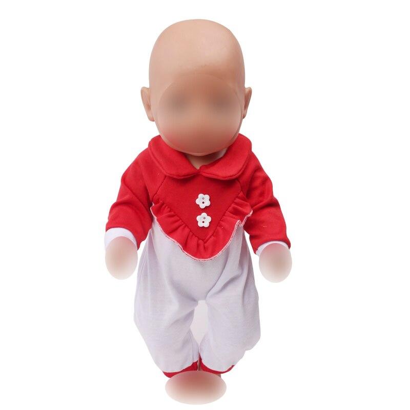 Collectie Hier Pop Kleding Schattige Baby Red One-stuk Pak Jumpsuits Fit 43 Cm Babypoppen En 18 Inch Meisje Poppen Accessoires F586 Pure En Milde Smaak