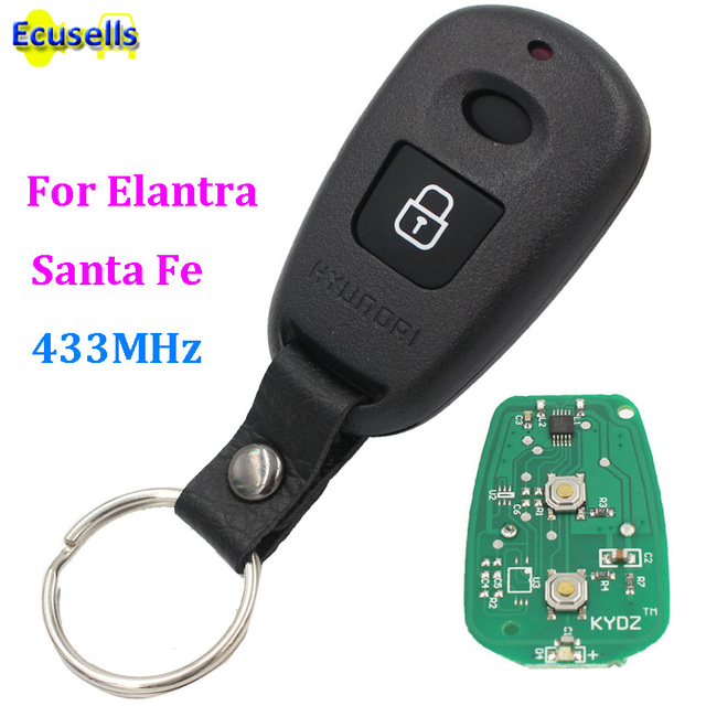 2 botón 433 MHz control remoto transmisor FOB llave encaja para Hyundai Elantra Santa Fe