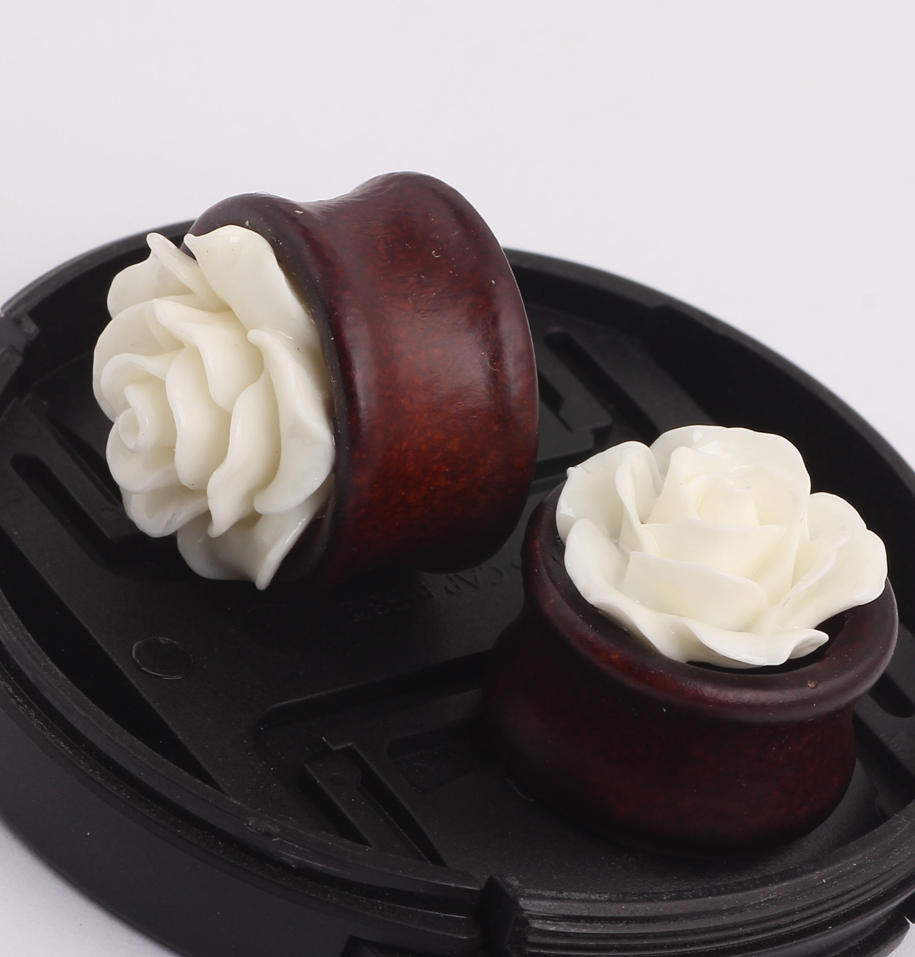 2pcs white rose flower wood stud font b earrings b font ear tunnel plug kit stretcher