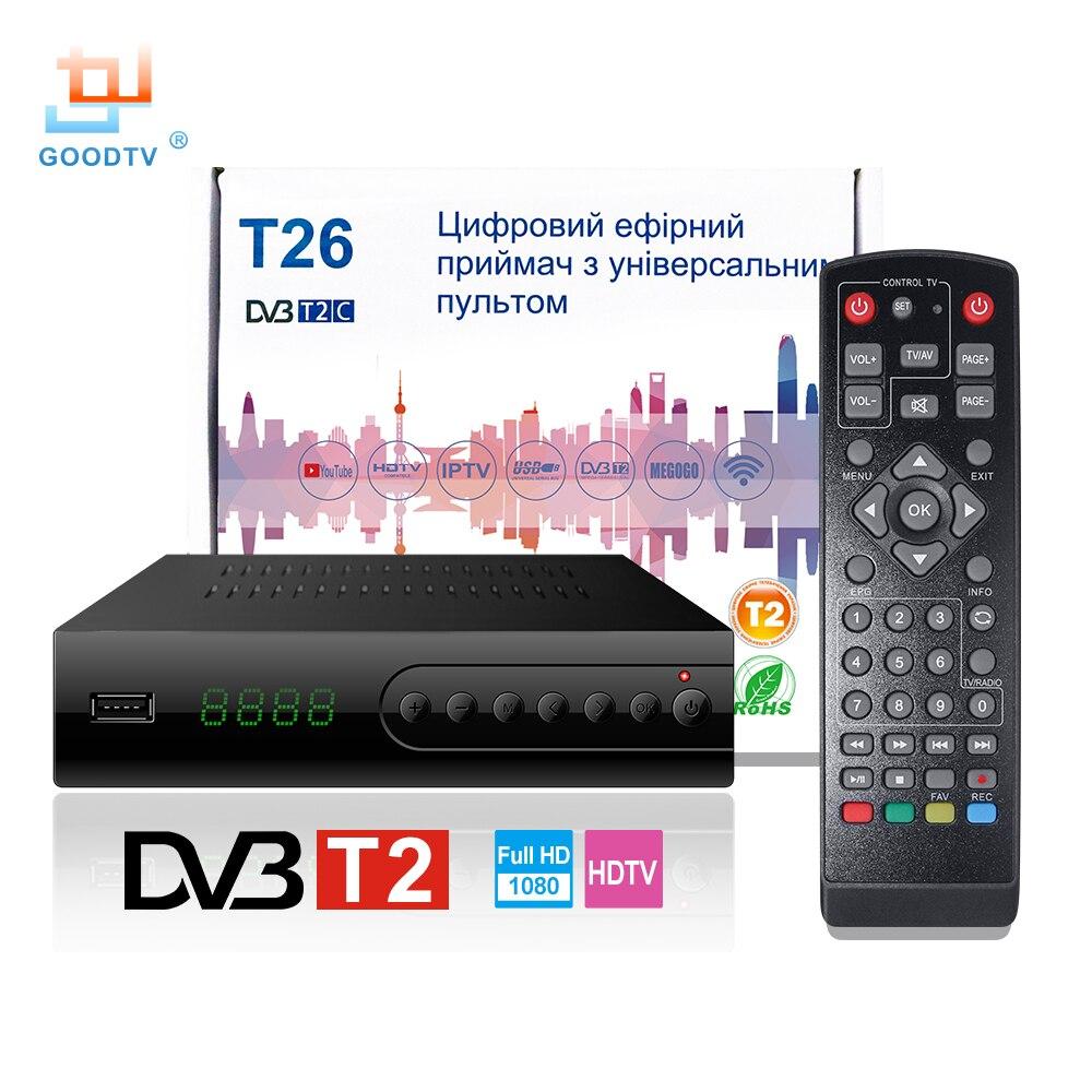 U2C USB DVB T2 Wifi TV Tuner DVB-T2 Receiver Full-HD 1080P Digital Smart TV Box Support MPEG H.264 I PTV Built-in Russian manual
