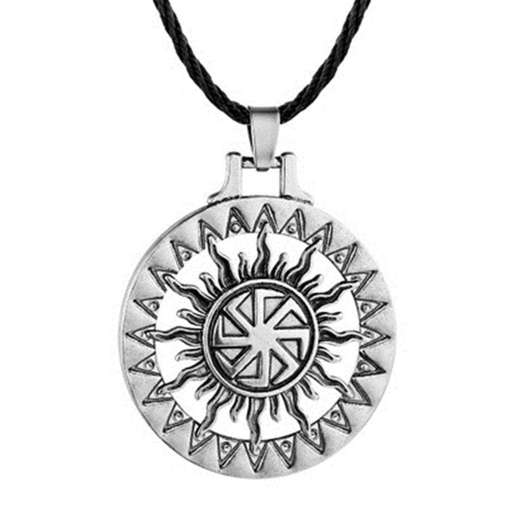Słowiański Kolovrat koła Amulet Pagan wisiorek naszyjnik Viking runy gwiazda rosji Pentagram Nordic Wicca urok naszyjniki Collier