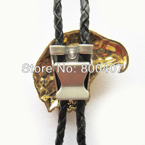 Retail Real Gold Plating Eagle Head Bolo Tie BoloTie BOLOTIE-WT136GD Brand New In Stock Free Shipping Multan