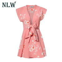 NLW Lace Up Bow Sexy V Neck 2018 Red Floral Print Boho Beach Short Women Mini
